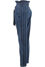 Striped Paper Bag Waist Jeans