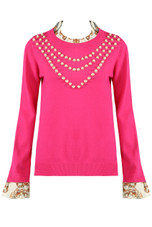 Ruffle Neck & Cuffs Pearls Trim Jumper - Mixed Colour Pack
