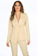 Pinstripe Asymmetric Blazer & Trouser Suit - 3 Colours