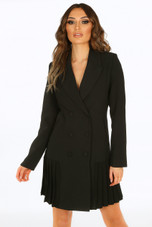 Pleated Hem Double Breast Blazer Dress
