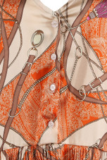 Belt Printed Pleated Hem Shift Dress