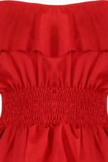 Shirred Waist Off Shoulder Crop Top