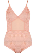 Round Grid Lace Bodysuits