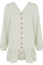 Pleated Hem Button Up Dress