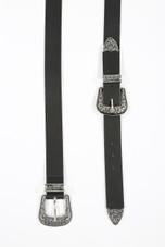 Double Buckle Wide PU Belt