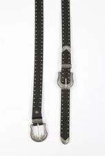 Double Buckle Studs Trim PU Belt