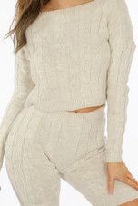 Cable Knit Crop Top & Shorts Co-Ord