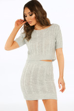 Cable Knit Crop Top & Skirt Co-Ord