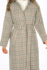 Check Belted Long Coat