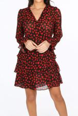 Black Heart Print Wrap Over Dress