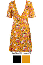 Floral Plunge Neck Wrap Dress