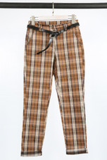 Check Cropped Belted Trousers