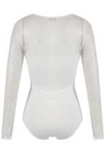 Lace Mesh Trim Padded Bodysuits