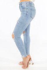 Mid Blue Frayed Ankle Skinny Jeans