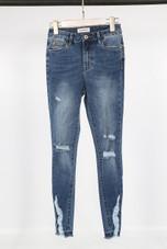 Dark Denim Shredded Jeans
