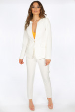 Collarless Single Button Blazer