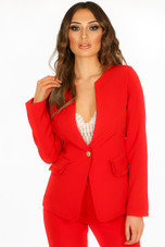 Collarless Ruffle Trim Blazer & Trouser Suit