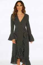 Polka Dot Wrap Over Maxi Dress