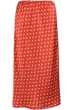 Rust Polka Dot Satin Bias Midi Skirt