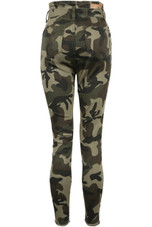 Camouflage High Waist Tie Up Jeans