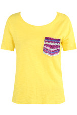 Round Neck T-Shirt With Sequin Pocket - 3 Colours