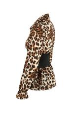 Leopard Print Banded Waist Peplum Blouse