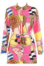 Scarf Print Mini Shirt Dress - 4 Colours