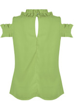 Cold Shoulder Blouse With Pleated Detail - 4 Colours
