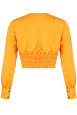 Long Sleeve Crop Top With Button Detail - 4 Colours