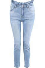 High Waist Light Washed Jeans With Ruffle Hem