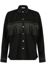 Black Denim Jacket With Diamante Fringe