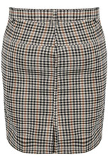 Brown Check Belted Mini Skirt