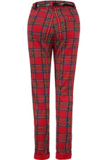 Red Check Belted Trousers
