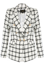 Tweed Check Golden Button Blazer