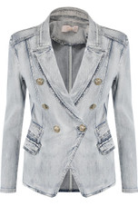 Acid Wash Denim Military Blazer