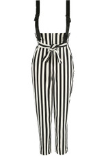 Monochrome Striped Jumpsuit With Webbing Detail