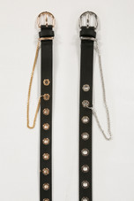 Alloy Eyelets Chain Hanging Buckle Belt
