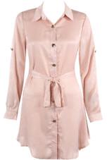 Satin Tie Up Shirt Dress - 4 Colours
