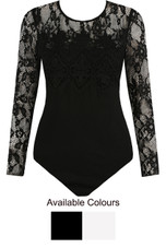 Mesh Lace Shoulders Bodysuit - 2 Colours
