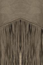 Khaki Tassled Detail Back Zip Up Tops