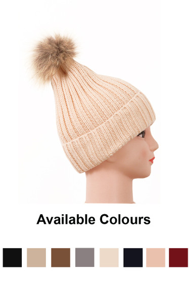 381a60d9c382c Real Fur Pom Pom Knit Winter Hat - 8 Colours - Buy Fashion Wholesale in The  UK