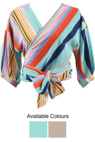 061e51d683dfd4 Multicolour Striped Tie Up Wrap Tops - Buy Fashion Wholesale in The UK