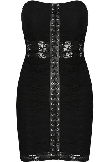 Black Mesh Trim Lace Up Bandeau Dress