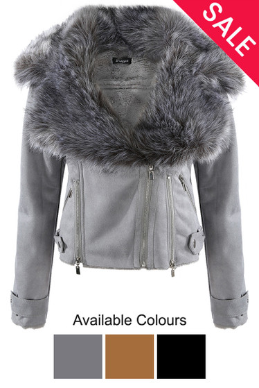 618e6edc289 Faux Leather Thick Faux Fur Jacket - Buy Fashion Wholesale in The UK