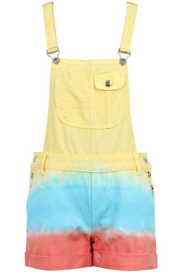 f7a3fadf9575a Yellow Tie Dye Fashion Short Denim Dungarees