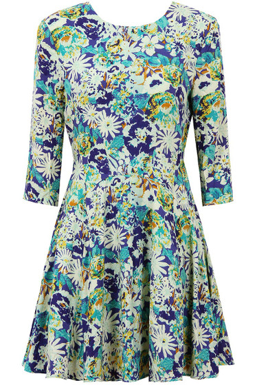 f2e438918a Wholesale Ladies Clothes - Blue & Green Floral Print 3/4 Sleeve Skater Dress