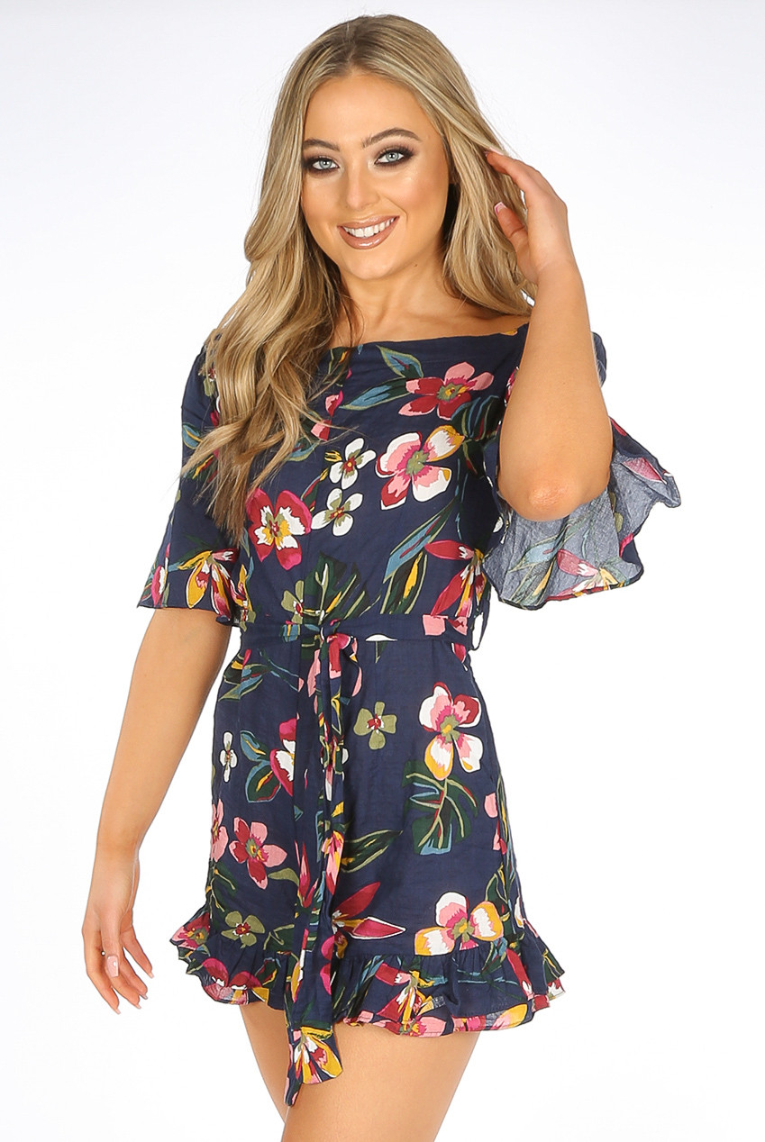 6b7852b01e4 Floral Print Off Shoulder Playsuit - 2 Colours ...