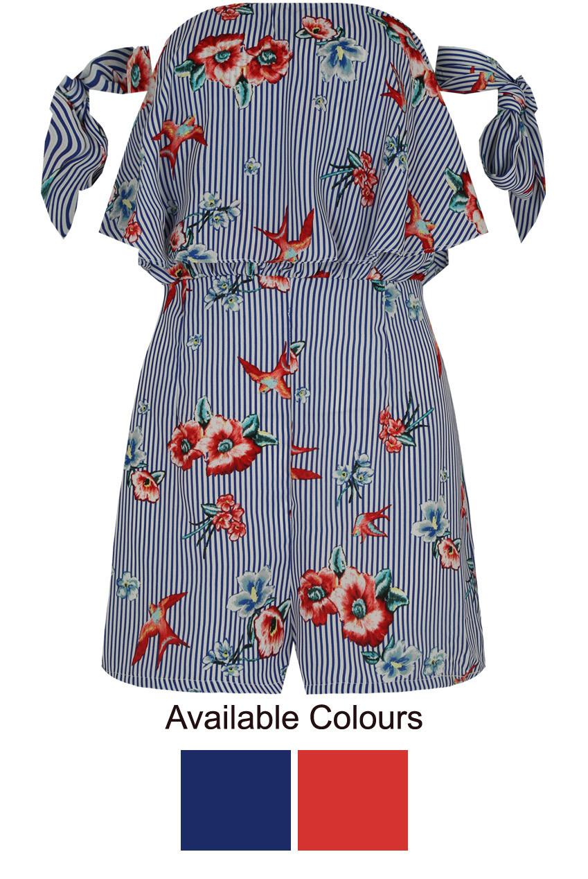 a1c8fcff202 ... Floral Striped Off Shoulder Playsuit - 2 Colours