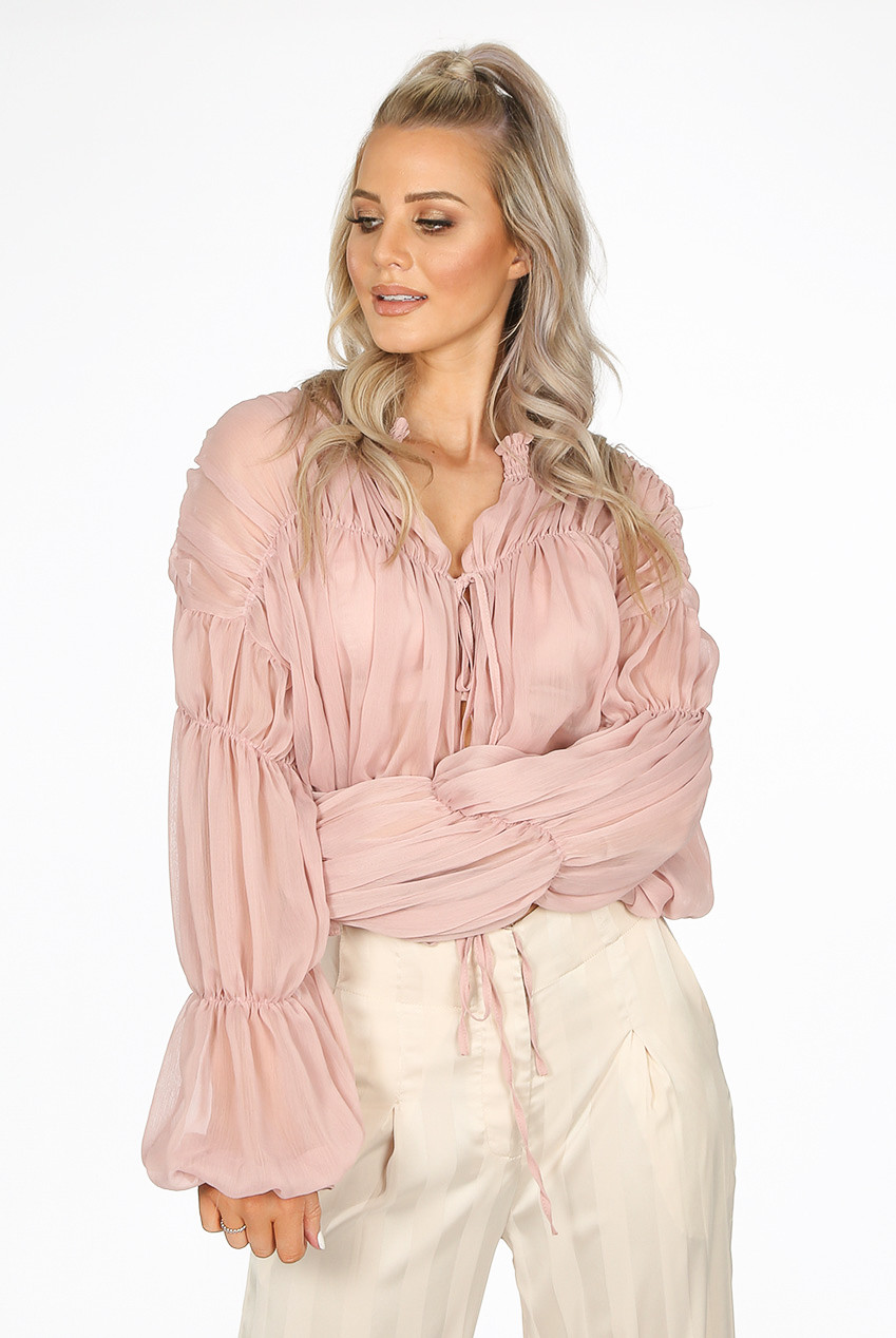 89b3ba8e3 Sheer Tie Up Blouse ...