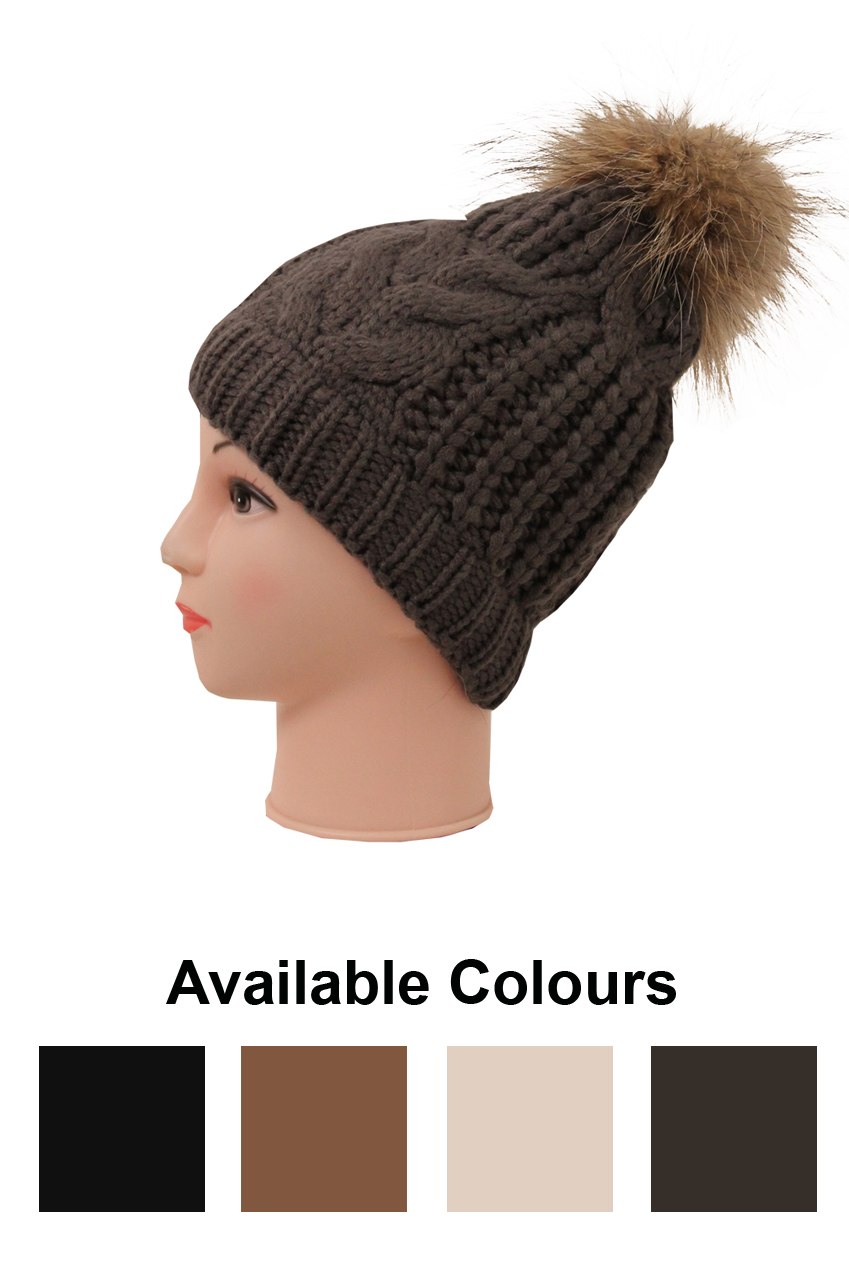 8a518f11866e1 Real Fur Pom Pom Knit Winter Hat - 4 Colours - Buy Fashion Wholesale in The  UK